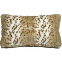 "PILLOW DÉCOR Faux Fur Decorative Accent Throw Pillow (12""x20"", Tawny Lynx)"