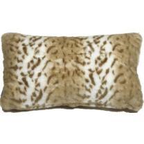 "PILLOW DÉCOR Faux Fur Decorative Accent Throw Pillow (12""x20"", Tawny Lynx)"