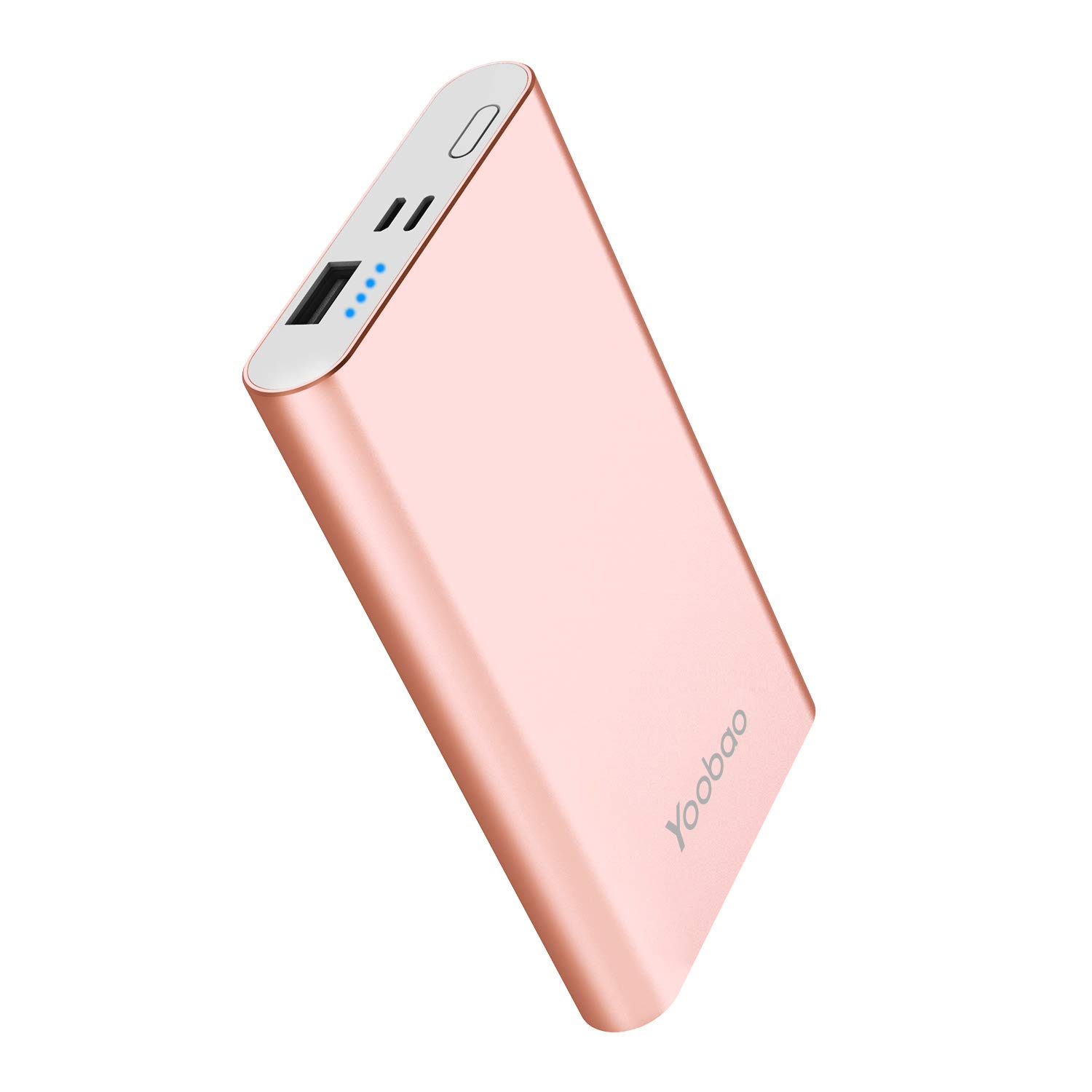 Portable Charger Yoobao Power Bank Apple & Micro Input 8000mAh Compact Powerbank External Cellphone Battery Backup Pack Compatible iPhone X 8 7 6 Plus Android Smartphone Samsung Galaxy etc- Rose Gold