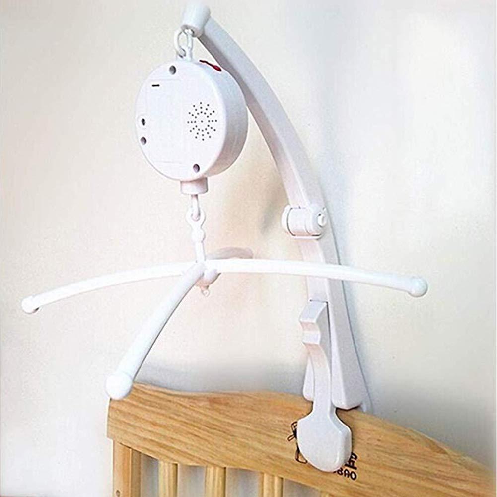 fenghgoxu Baby Music Mobile arm for Crib Clip Bracket Clip on Mobile Baby Bed Bell Music Box , White (12 Songs Music Box +Cross+Mobile arm)