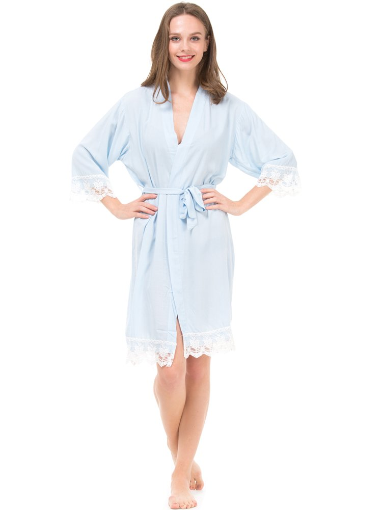 Mr & Mrs Right Women's Cotton Kimono Robe for Bride and Bridesmaid with Lace Trim