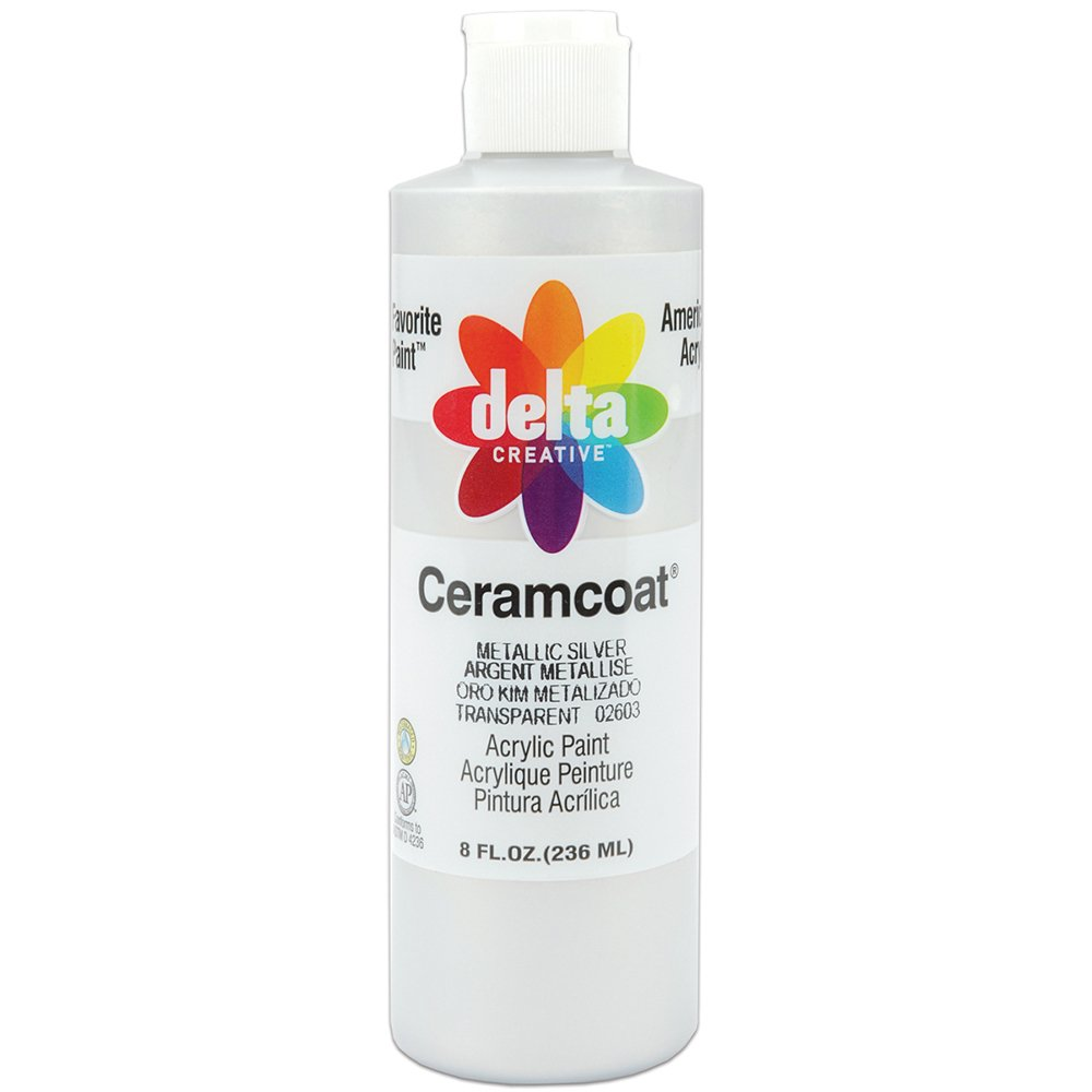 Delta Creative Ceramcoat Acrylic Metallic Paint in Assorted Colors (8 Ounce), 2800M-2603 Metallic Silver