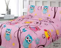 Sapphire Home Three (3) Piece Twin Size Owl Branch Theme Print Sheet Set with Fitted, Flat and 1 Pillow Case, Pink Yellow Turquoise Girls Kids Bedding Sheet Set