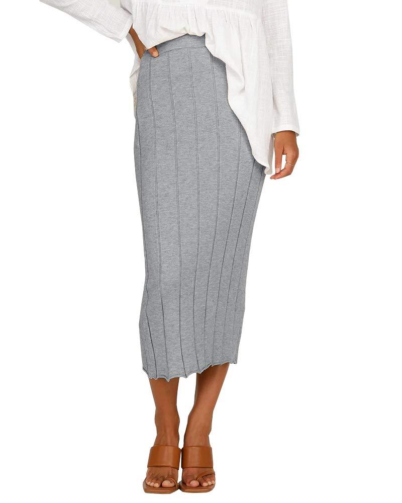 Ashuai Women's Bodycon Pencil Plaid Skirt Stretchy Knee Length High Waisted Midi Skirts