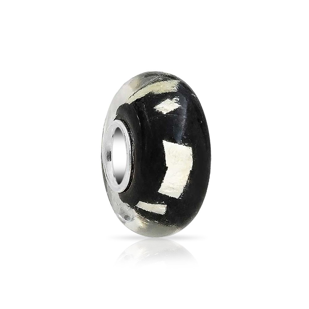 Black Glitter Foil Murano Glass 925 Sterling Silver Core Spacer Bead Fits European Charm Bracelet For Women For Teen