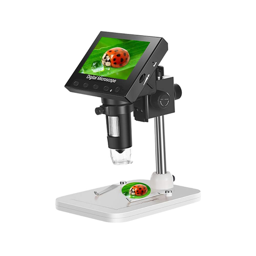 4.3 inch LCD Digital Microscope USB Microscope with 1000X Magnification, Adjustable LED Lights, Camera Video Recorder for Circuit Boards, Study, Jewelry Identification, Insect and Plant Observation