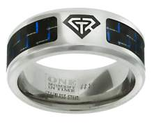 J197 Size 8- 13 Blue Carbon Fiber Superman Stainless Steel Ring One Moment In Time Mormon CTR LDS