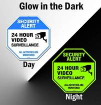 """Video Surveillance Sign Outdoor   No Trespassing Glow-in-The-Dark Large Warning Sign   12""""x12"""" Aluminum   Indoor Outdoor   Home Business CCTV Security Camera   Waterproof UV Protected   Blue"""