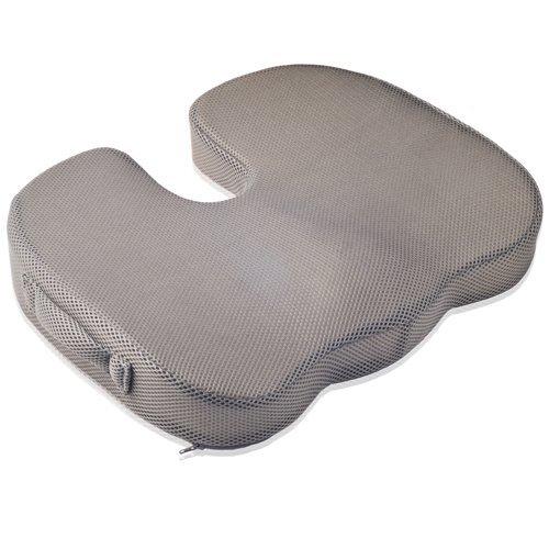Dr. Frederick's Original Tailbone Pain Relief Cushion - Firm Memory Foam Coccyx Cushion - Orthopedic Seat Cushion - Washable Non-Slip BreatheTEC Cover
