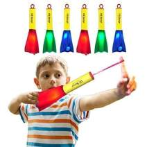 US Sense 6 Pack LED Foam Finger Rockets Glowing Flying Toys for Boys Girls Birthday Party Favors, Fun Outdoor Group Camping Beach Garden Pool Games Outdoor Sports Toy