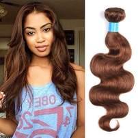 JulyQueen Brazilian Human Hair Bundles 1 Bundle Light Auburn 100% Unprocessed Virgin Brazilian Hair Body Wave Human Hair Wefts Extensions(24 Inch,Color 30)