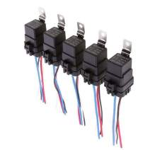 ESUPPORT Car Truck Motor Heavy Duty DC 12V 40A SPST Relay Socket Plug 4Pin 4 Wire Harness Waterproof Kit Pack of 5