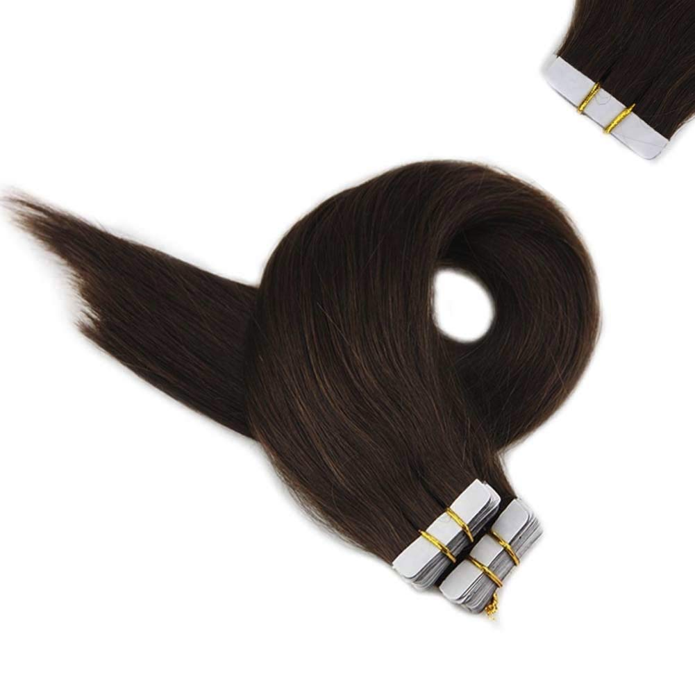Full Shine Thick End Tape On Hair Extensions Solid Color #4 Meddile Brown Glue Straight Hair Extensions 22 Inch Long Length 50 Gram 20 Pcs Per Pack Skin Weft Hair Brazilian Human Hair