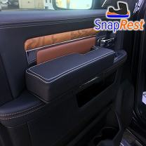 SnapRest The Instant Comfort Armrest Compatible with Dodge Ram (2013-18 ONLY). Premium Leather - Black w/Silver Thread