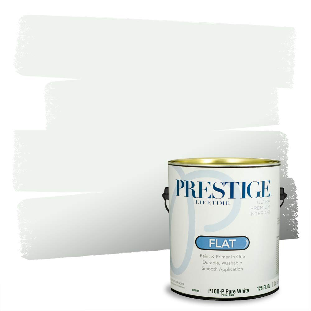 Prestige, Greens and Aquas 5 of 9, Interior Paint and Primer In One, 1-Gallon, Flat, Puritan White