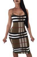 Bodycon4U Women's Spaghetti Straps Striped Plaid Print Bodycon Club Night Out Mini Dress