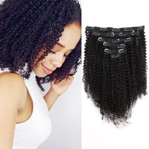 ABH AmazingBeauty Hair 8A Grade Big Thick Real Remy Human Hair 4A 4B Afro Curly Double Weft Clip In Extensions for African American Black Women, 3C 4A, Natural Black, 120 Gram, 14 Inch