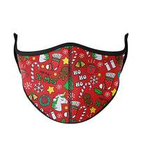 Top Trenz Reusable Face Mask Made with Stretch Cloth for Everyday Use - Indoor/Outdoor Face Cover - Christmas Unicorn Red - One Size Fits Most Ages 8+