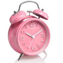 Peakeep 4 inches Twin Bell Pink Alarm Clock, Battery Operated, Loud (Pink)