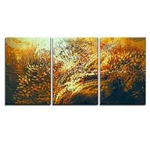 """wall26 - 3 Piece Canvas Wall Art - Digital Painting of Abstract Orange Elements,Fantasy Aquatic Concept - Modern Home Decor Stretched and Framed Ready to Hang - 16""""x24""""x3 Panels"""