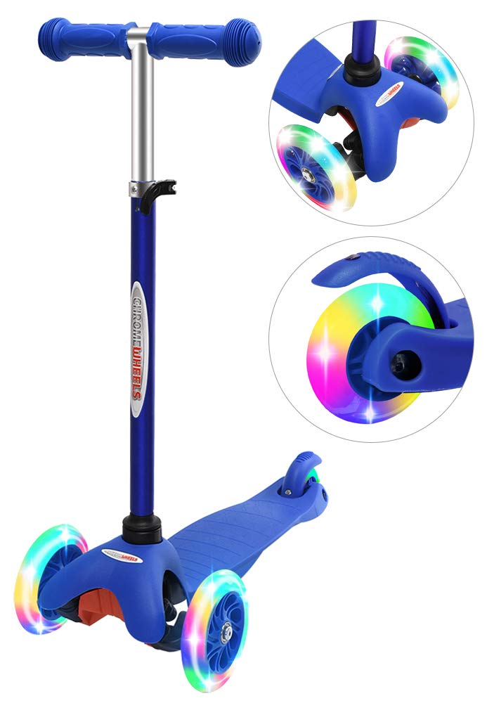 ChromeWheels Scooter for Kids, Deluxe 3 Wheel Scooter for Toddlers 4 Adjustable Height Glider with Kick Scooters, Lean to Steer with LED Flashing Light for Ages 3-6 Girls Boys