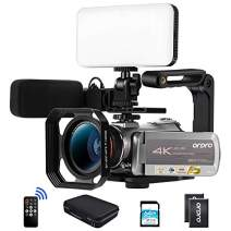 """Ordro AZ50 4K 30fps 3840X2160 Camcorder Video Camera 1080P 60FPS,3.1"""" IPS Touch Screen,Infrared Night Vision with Microphone,Wide Angle Lens,2 Batteries LED Light, Handle,64GB SD Card, Carrying case"""