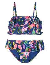 Cadocado Girls Two Piece Swimsuit Ruffle Bathing Suit Bikini Beach Sport,Blue &Pink Floral,4-5Y