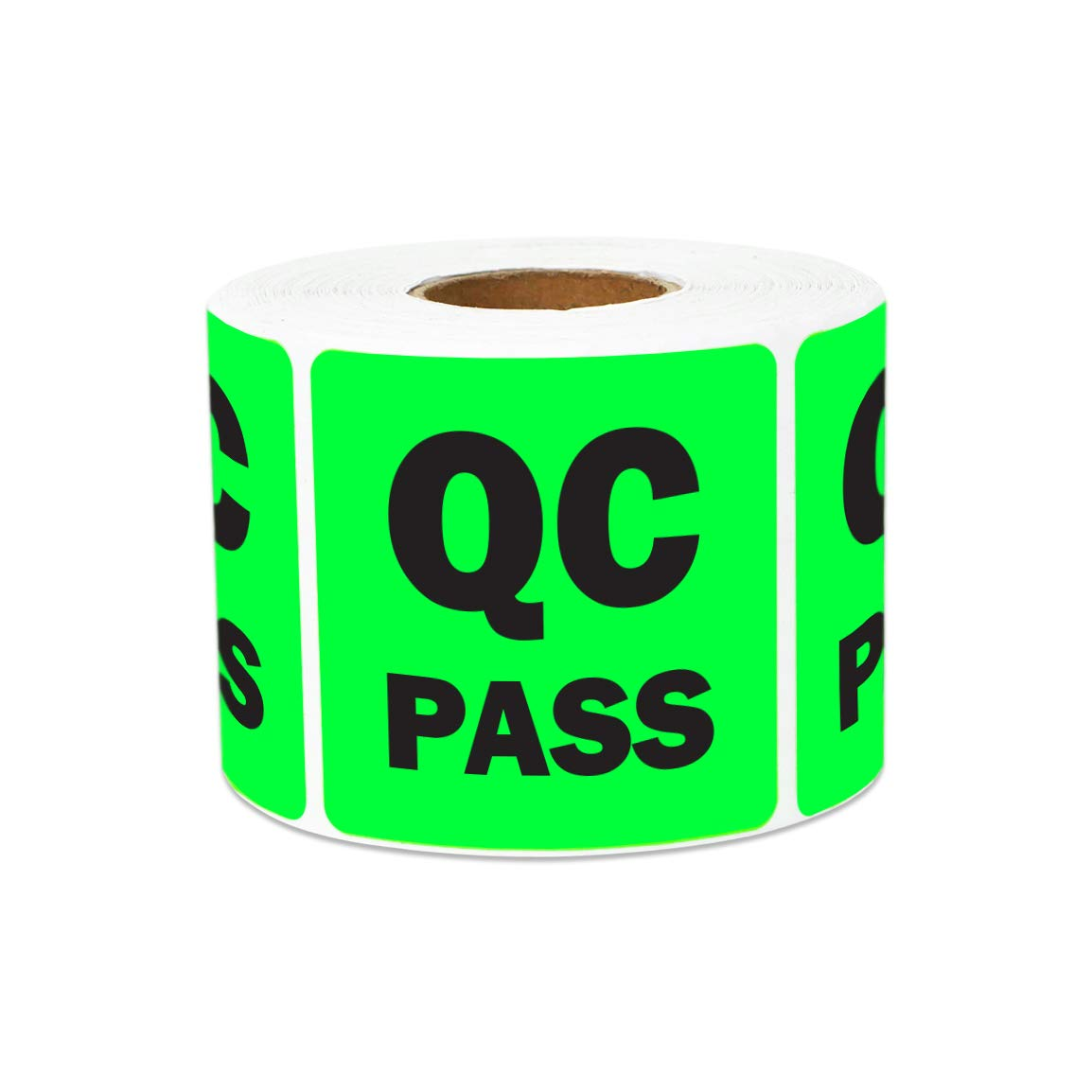 600 Labels - QC Pass Stickers for Quality Control Inventory Warehouse (2 x 2 inch, Green - 2 Rolls)