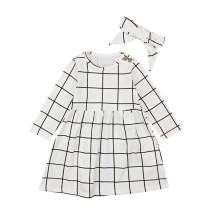 Toddler Kids Baby Girls Plaid Outfit Long Sleeve Dress Headband Clothes Set