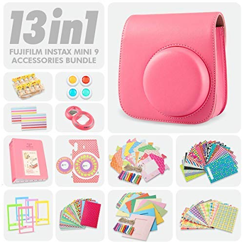 Fujifilm Instax Mini 9 Flamingo Pink 13 Piece Accessory Bundle Includes Camera Case with Strap, Selfie Lens, Photo Album, Decorative Stickers, Colorful Frames and a Whole Lot More