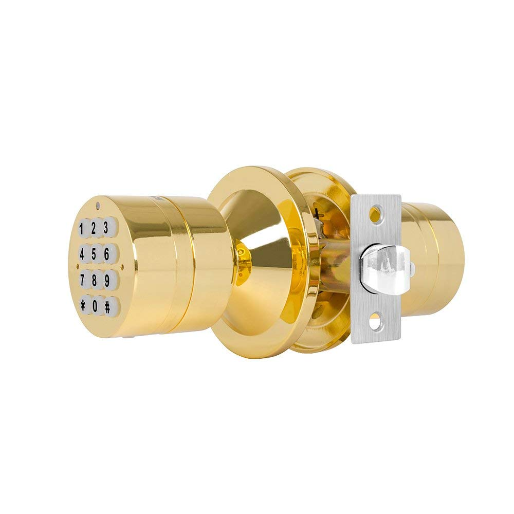 Advanced Security TurboLock Keypad Keyless Smart Lock - with Automatic Locking, Battery Backup & Easy Installation (No Bluetooth, Polished Brass)