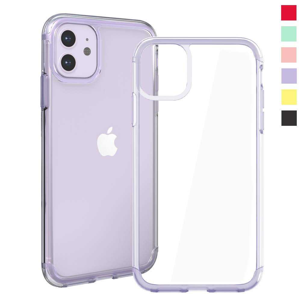 Inbeage Transparent iPhone 11 Case Colorful iPhone 11 Case with Matching Color Edge Full-Protective Shockproof Slim Case for iPhone 6.1inch (Purple)