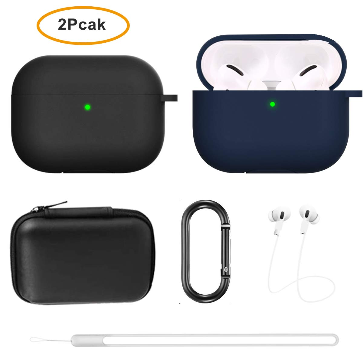 Aiiko Airpods Pro Case Cover 2019(2 Pack) Soft Silicone Protective Cover with Keychain/Anti Lost Strap/EVA Box,New Shockproof Case for Airpods Pro/Airpods 3(Front LED Visible)(Black+Navy Blue)