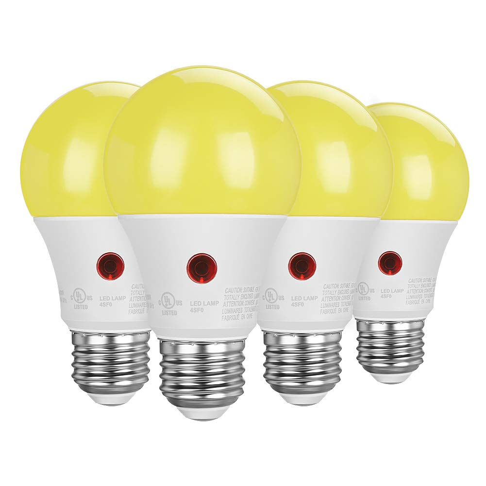 DEWENWILS 4-Pack LED Light Bulbs Outdoor, Dusk to Dawn Sensor, A19 Yellow Light Bulbs, 9W(60W Equivalent), 600LM, 2000K Amber Glow, E26 Medium Screw Base, LED Security Bulbs for Porch,UL Listed