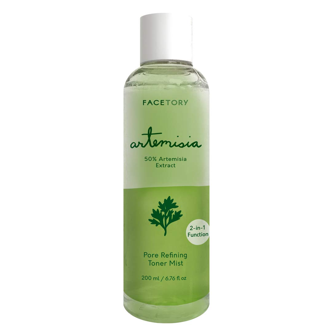 FaceTory Artemisia Pore Refining 2-in-1 Toner Mist | Prepping and Soothing Toner/Mist - Brightens, Calms Blemishes and Tightens Pores - For All Skin Types, 6.76 Fl Oz.