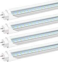 JESLED T8 T10 T12 LED 4FT Light Bulbs, 24W 3000LM, 6000K-6500K Daylight White, 4 Foot LED Fluorescent Tube Replacement, Super Bright, Dual Ended Power, Ballast Bypass, Clear Cover (4-Pack)