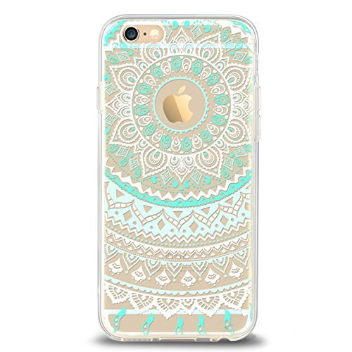 Ailun Phone Case Compatible with iPhone 6 6s Solid Acrylic Back Reinforced Soft TPU Frame Ultra Slim Shock Absorption Bumper Anti Scratch Fingerprint Oil Stain Back Cover Mandala MintGreen