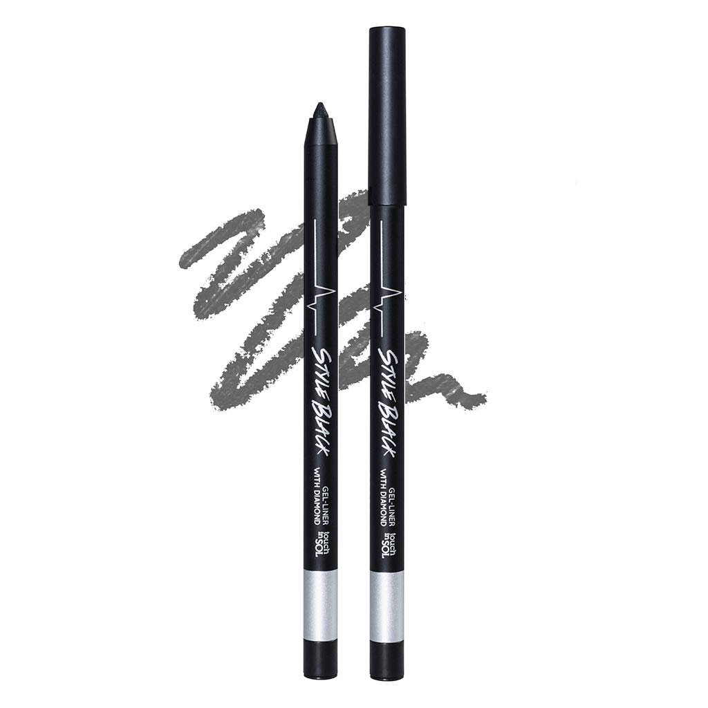 TOUCH IN SOL Style Black Gel Liner with Diamond - Long Lasting Waterproof, Oil-Proof Eyeliner with Diamond Pearl Finish, No Irritation Formula for Senstivie Eyes (#2 Platinum)