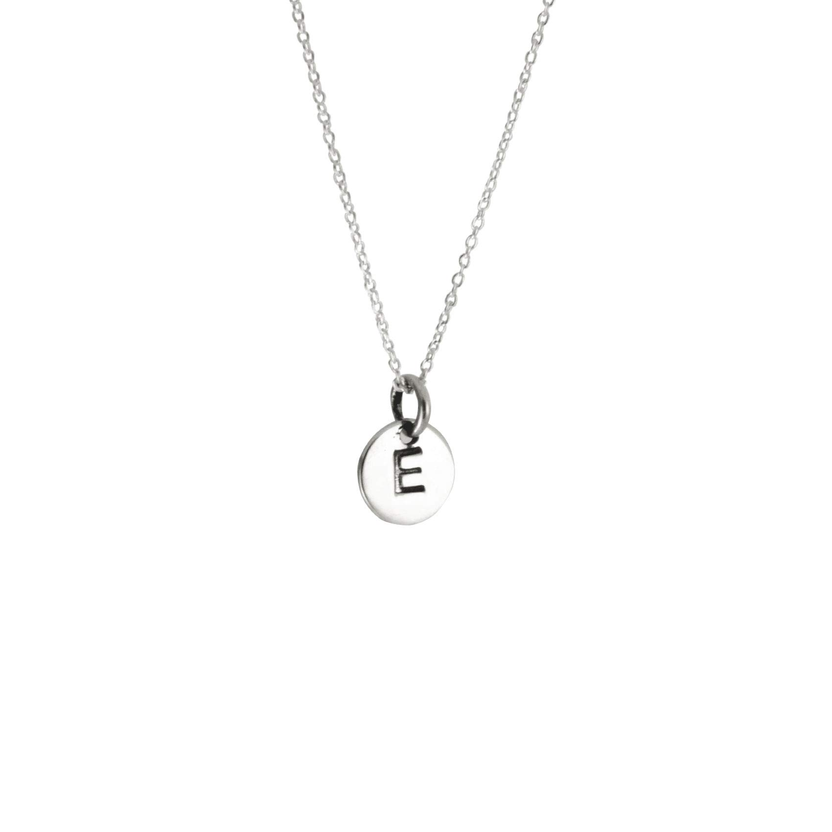 apop nyc 925 Sterling Silver Alphabet Initial Mini Letter Disc Pendant Necklace 18 inch
