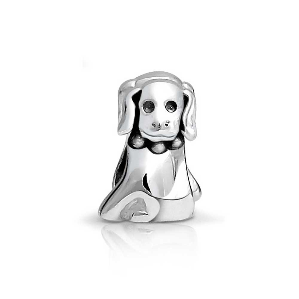 Puppy Pet Lover BFF Dog Charm Bead For Women For Teen Oxidized 925 Sterling Silver Fits European Bracelet