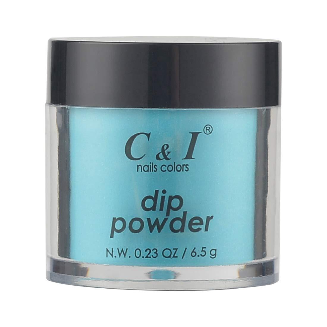C & I Dipping Powder, Nail Colors, Gel Effect, Color # 71 Cyan Glaze, 0.23 oz, 6.5 g, Translucent Color System (1 pc)