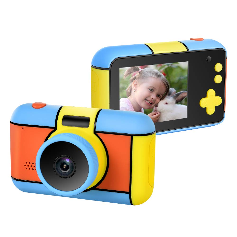 ElecRat Kids Digital Camera ,24MP Large LCD Blue Screen Anti-Drop Children's Video Camcorder Camera with 1080P Rechargeable Electronic Camera for Kid 3- 10 Years Old Boys Girls