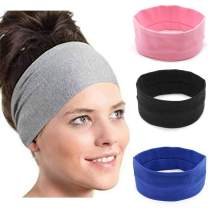 Drecode Sport Headband Black Cotton Wide Sweatband Workout Yoga Stretchy Hair Accessories for Women and Girls(3 pcs)