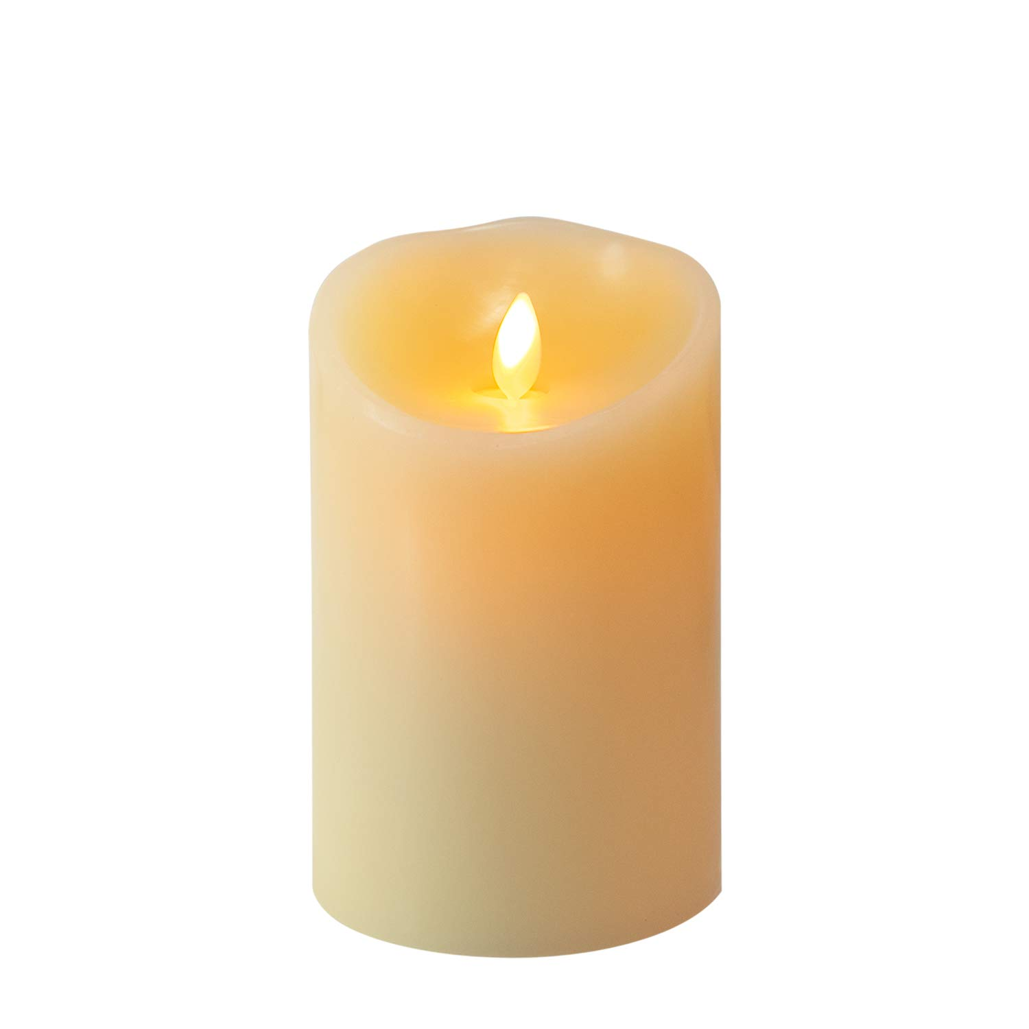 Brightown Flameless Candles Battery Operated, 3D LED Pillar Real Wax Flickering Candle with Remote and Timer for Mother's Day Gift Birthday Party & Christmas Decor (5 inch)