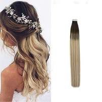 Moresoo 14 Inch Tape in Hair Extensions Human Natural Hair Tape ins 20pcs 50g Seamless Hair Extensions Balayage Color #2 Brown to #14 Blonde Mixed with #60 Blonde Skin Weft Hair