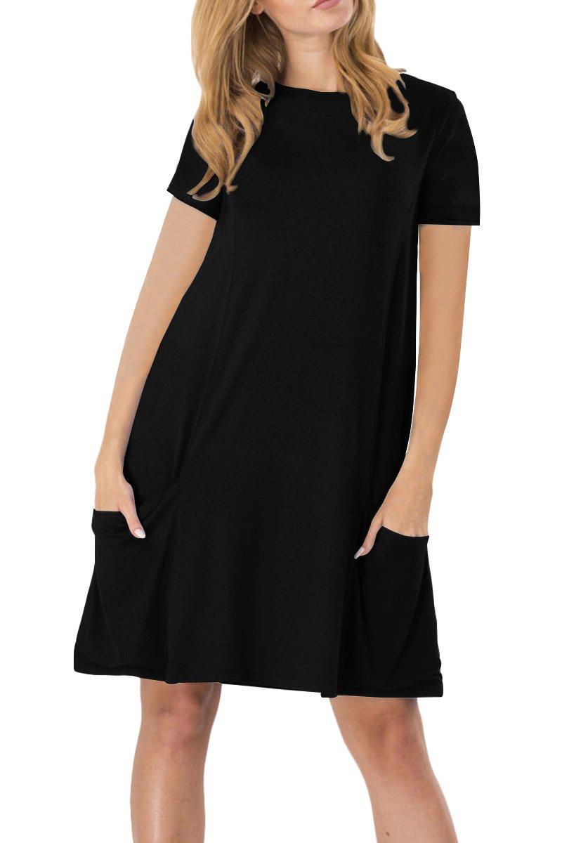 YMING Womens Casual Summer Dress Short Sleeve Mini Dress with Pockets XS-4XL