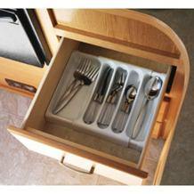 """Camco Adjustable Cutlery Tray - Designed for RV and Compact Kitchen Drawers , Adjusts between 9"""" and 13"""" for An Easy Custom Fit -White (43503)"""