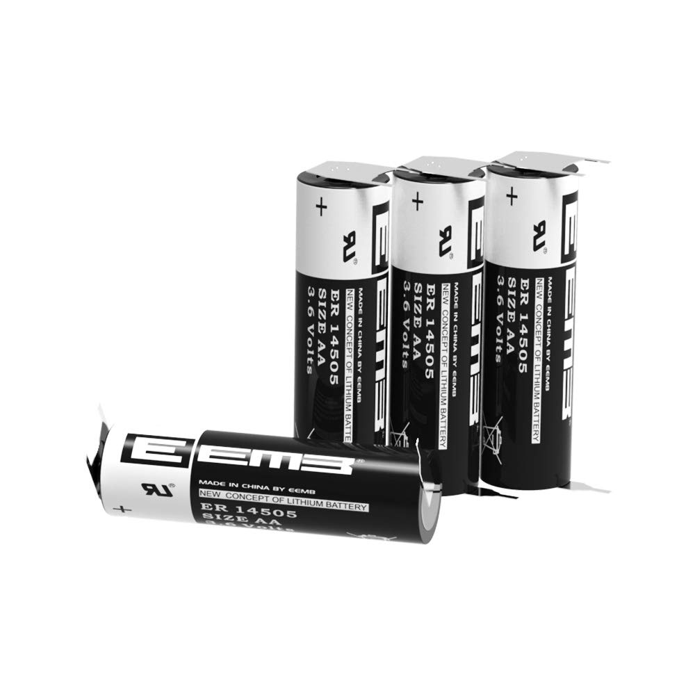 EEMB 3.6V AA Lithium Battery WithVBR Tabs ER14505 2600mAh High Capacity Li-SOCl2 Non Rechargeable UL Certified 3.6Volt Lithium Thionyl Chloride Batteries