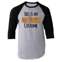 Pop Threads This is My Funny Halloween Costume Raglan Baseball Tee Shirt