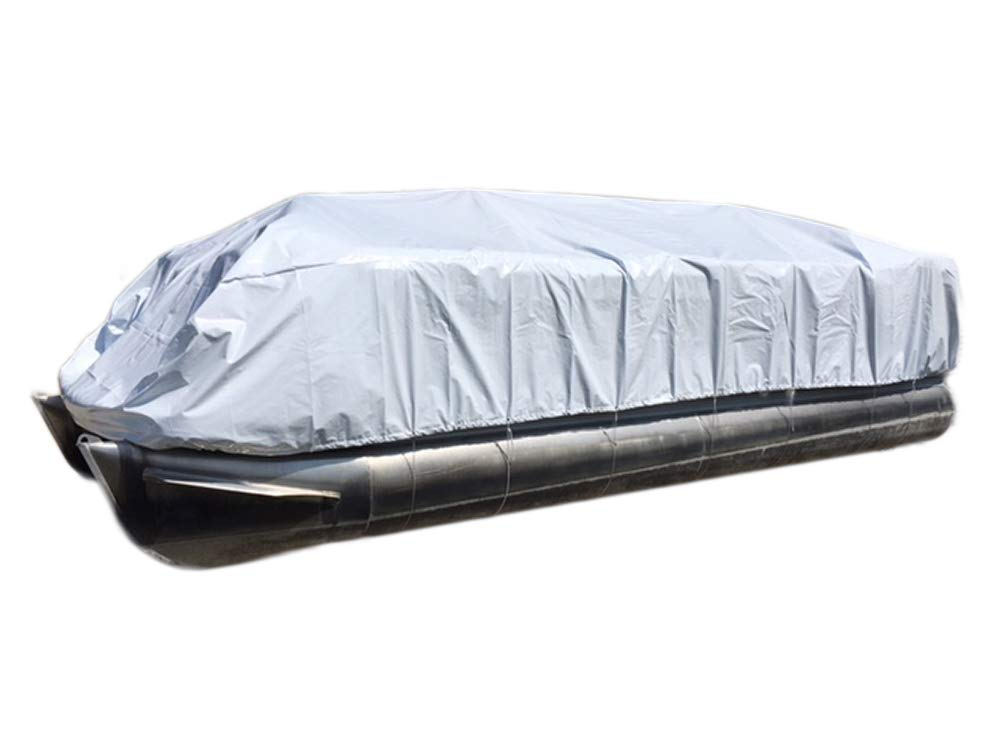 Transhield Pontoon Storage Boat Cover | Heavy Duty, Waterproof, Reusable | Perimeter Rope and Straps Included | Fits 18 ft, 19 ft, 20 ft, 21 ft, 22 ft, 23 ft, 24 ft, 25 ft, 26 ft